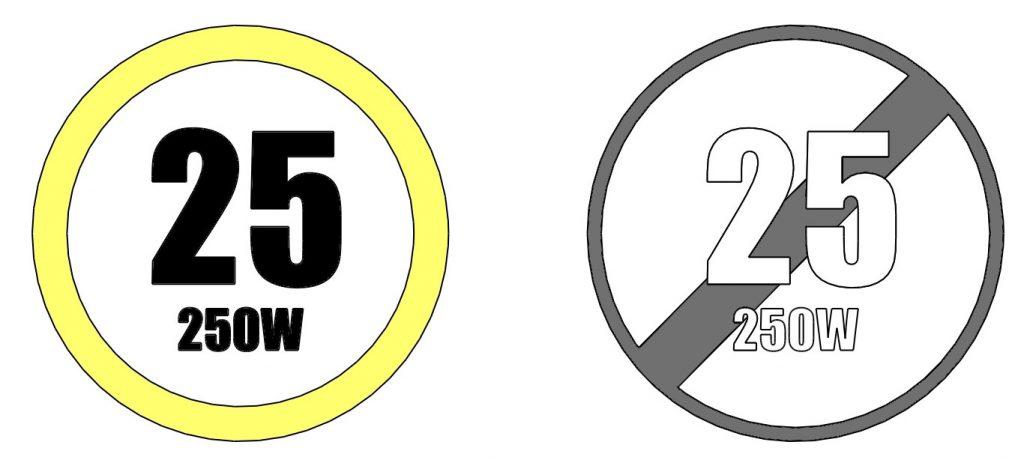 Road offroad mode 250W / Tryb legalny 250W a tryb nielegalny